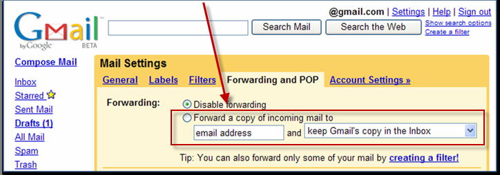 A screenshot showing an early version of Gmail settings page in English. There is a sentence there formed of four separate pieces of text: 1. Forward a copy of incoming mail to, 2. email address, 3. and, 4. keep Gmail's copy in the Inbox. All four pieces nicely form a correct sentence in English.